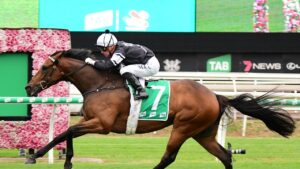 Mark Du Plessis rides Victorem to victory in the Victory Stakes at Eagle Farm. Picture: Trackside Photography