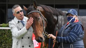 Michael Kent with Sandown winner Falls. Picture: Racing Photos via Getty Images