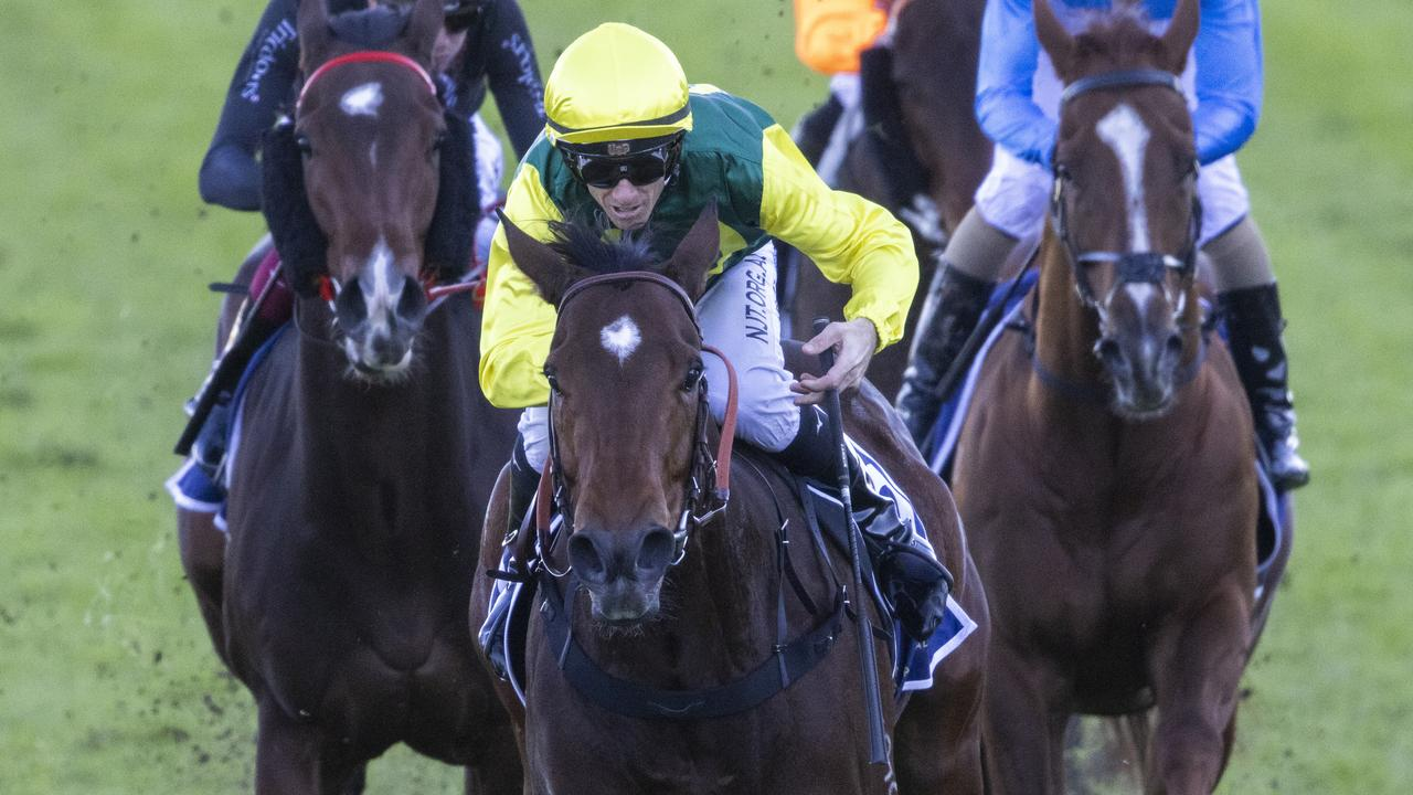 Jay Ford wins on Adelong in the Bob Charley AO Stakes at Randwick. Picture: Getty Images