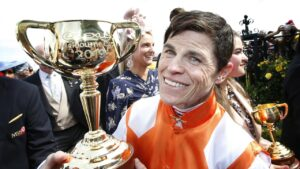 Craig Williams with the 2019 Melbourne Cup after winning aboard Vow And Declare. Picture: David Caird