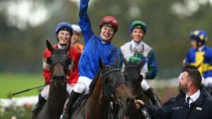 Koby Jennings celebrates after winning the Golden Eagle with Collette last spring. Picture: Getty Images for the Australian Turf Club