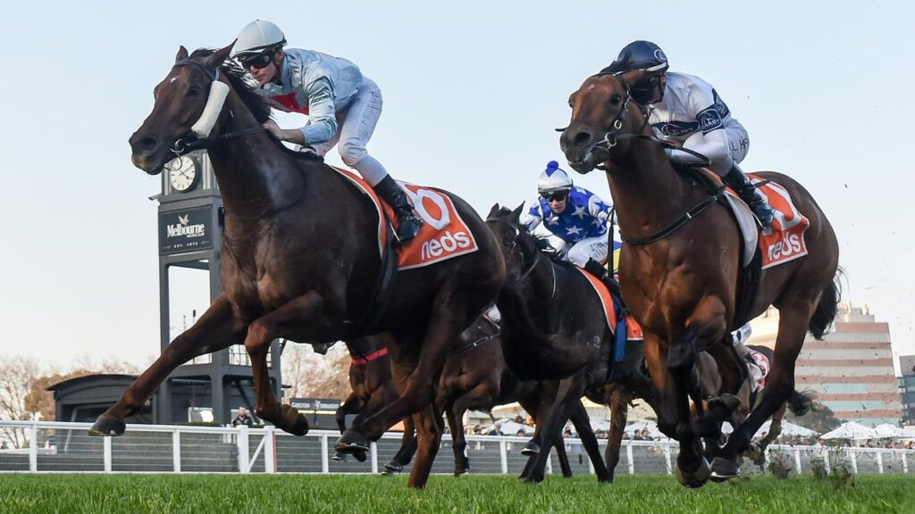 Red Can Man and Ben Melham (left) get the better of Malkovich and Jamie Kah. Picture: Racing Photos via Getty Images