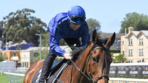 Kerrin McEvoy rides Happy Clapper in an exhibition gallop at Royal Randwick . Picture: AAP Image–Simon Bullard