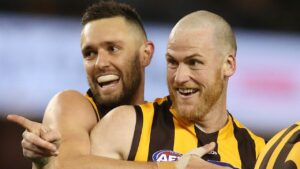 Hawthorn premiership teammates Jack Gunston, Jarryd Roughead, Luke Breust and Liam Shiels are involved in an Oaks hopeful set to debut at Geelong on Sunday. Picture: Michael Klein