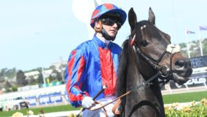Prince Of Arran ran a slashing third in the Melbourne Cup last year with Jamie Kah in the saddle. Picture: Vince Caligiuri