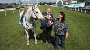 Gold Coast Turf Club boss Steve Lines with Racing Minister Grace Grace at Aquis Park. Picture: Glenn Hampson.