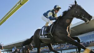 Glen Boss riding Sir Dragonet to victory in the Group 1 Tancred Stakes. Picture: Mark Evans–Getty Images