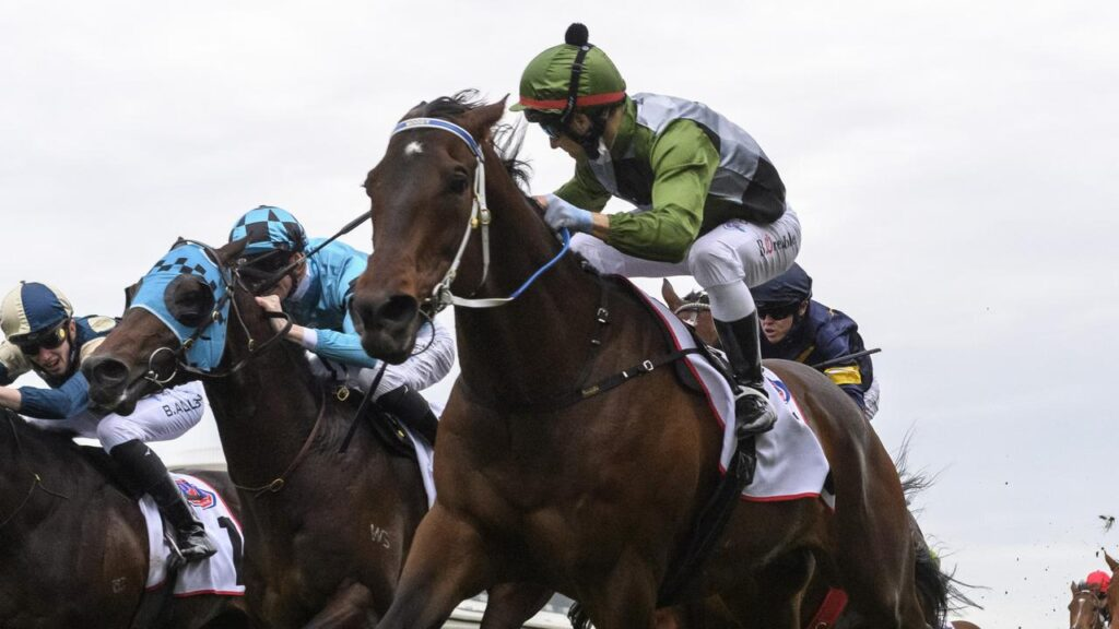Incentivise holds off a late challenge by Mo'unga to win the Makybe Diva Stakes. Picture: Getty Images
