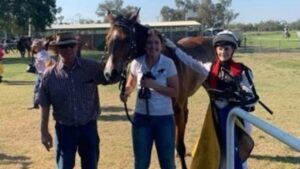 Connections celebrate Fitzroy Boy's win at Goondiwindi in his return from a stabbing attack. Picture: supplied