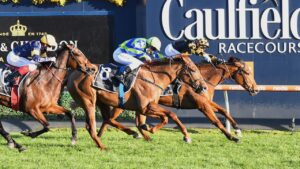 Behemoth and Brett Prebble hold on to win the Memsie Stakes from Beau Rossa. Picture: Reg Ryan–Racing Photos via Getty Images