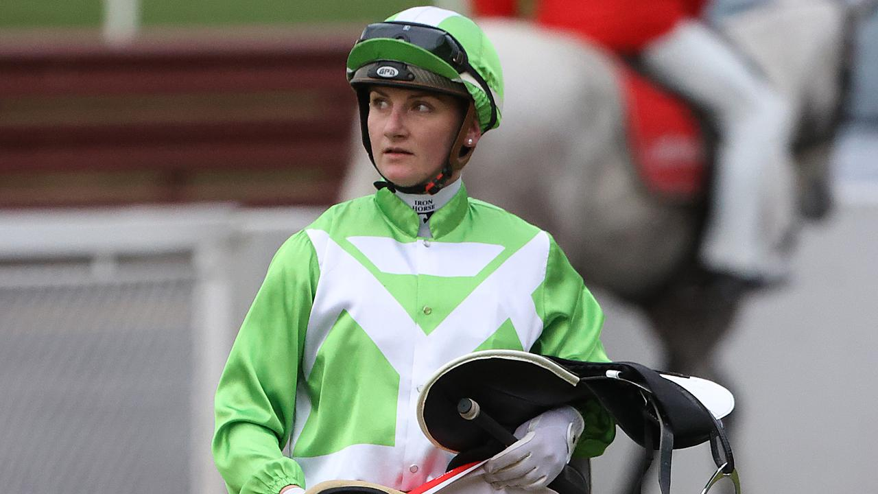 Jockey Jamie Kah faces extra penalty for allegedly misleading Stewards. Picture: Alex Coppel
