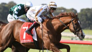 Fred Kersley steers Dice Roll to victory at Sandown on Saturday. Picture: Vince Caligiuri/Getty Images
