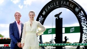 Jockeys Glen Boss and Steph Thornton at Eagle Farm for the launch of the Queensland Winter Carnival. Picture: Tara Croser