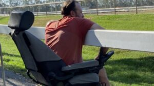 Trainer Darryl Johnston watching a race.