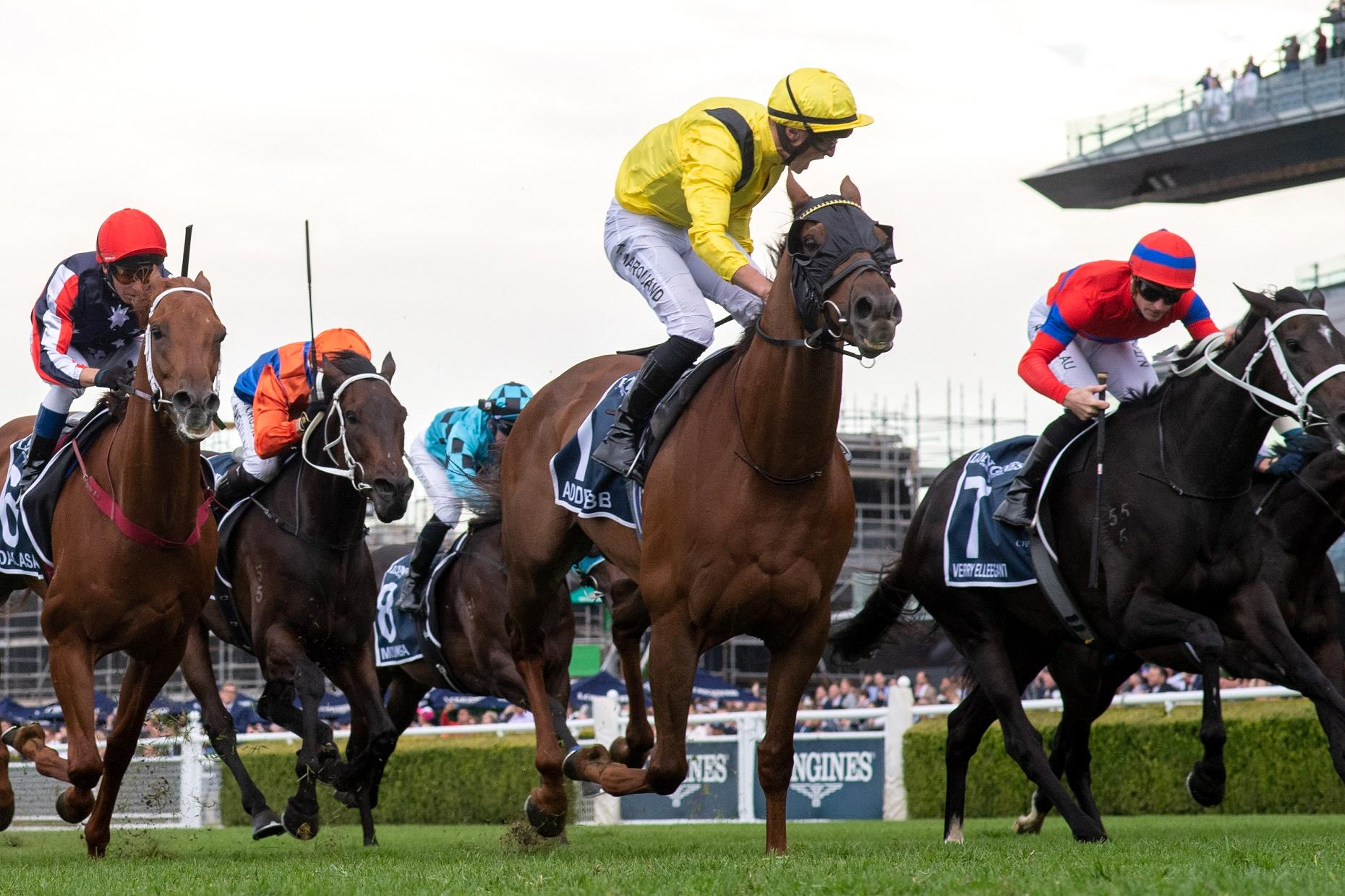 Tom Marquand celebrates Addeybb's Queen Elizabeth Stakes win.