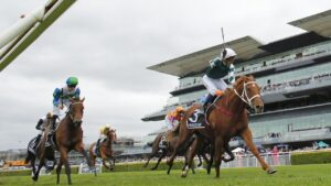 Kerrin McEvoy on Hungry Heart takes out the Star Australian Oaks. Photo: Mark Evans/Getty Images