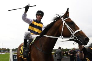 Ronnie Stewart celebrates winning the Sydney Cup aboard Selino.