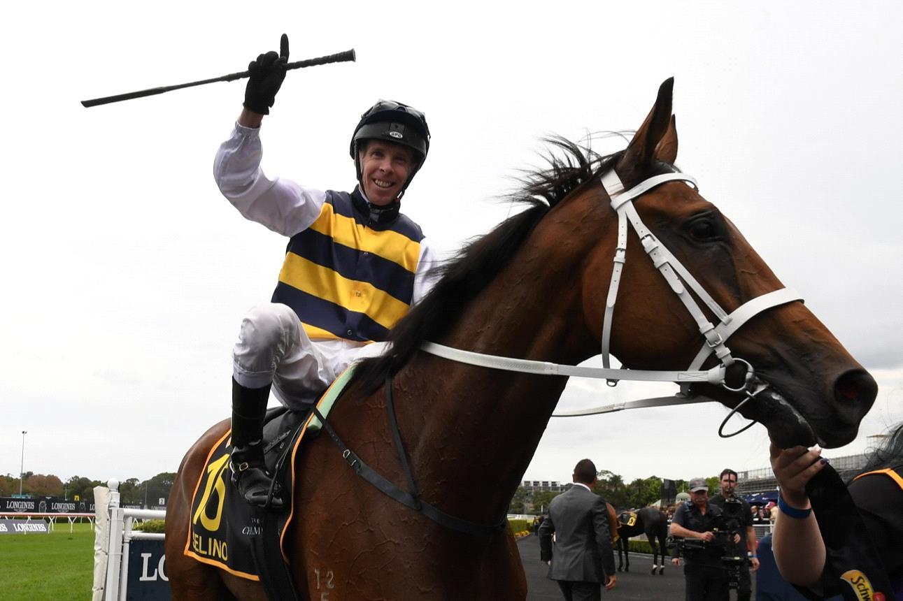 Ronnie Stewart celebrates winning the Sydney Cup aboard Selino.
