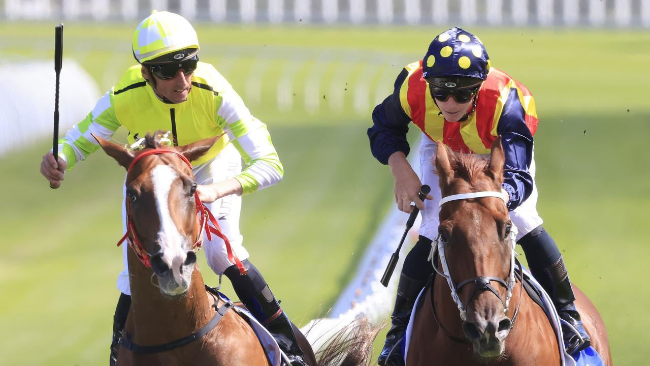 Eduardo gets the better of Nature Strip in the Challenge Stakes in March. Pic: Getty Images.