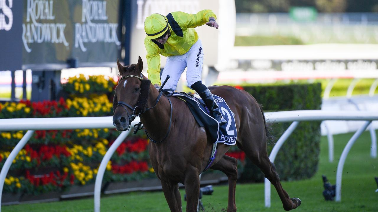 Jockey Tom Marquand drives Addeybb to a decisive victory in the 2020 Queen Elizabeth Stakes. Photo: AAP Image/Dan Himbrechts