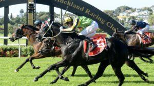 Rocket Spade winning the Group 1 New Zealand Derby. Photo: Kenton Wright / Race Images