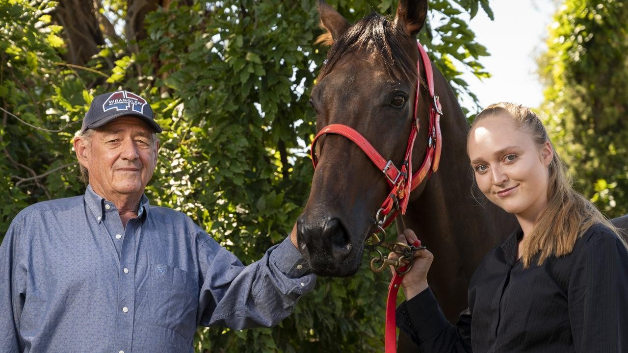 Byblos Boy with trainer Peter Korn and strapper Claudia Ratcilffe. Picture: NCA NewsWire/Martin Ollman
