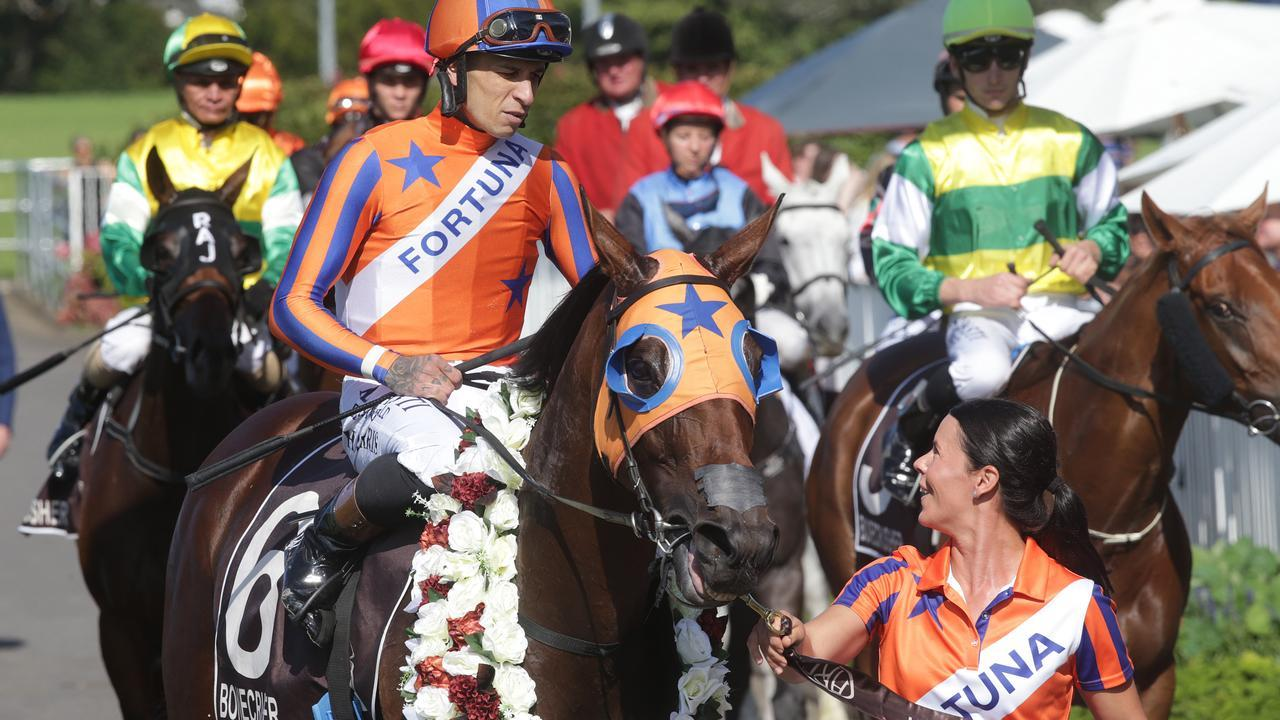 Melody Belle farewelled New Zealand racing by claiming her 14th Group 1 win in the Bonecrusher Stakes at Ellerslie. Picture: Trish Dunell