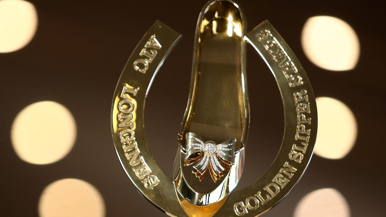 The famous Golden Slipper trophy will be up for grabs at Rosehill on Saturday. Picture: Getty Images