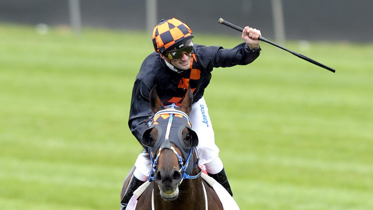 Corey Brown wins the 2009 Melbourne Cup on Shocking. Picture: AAP