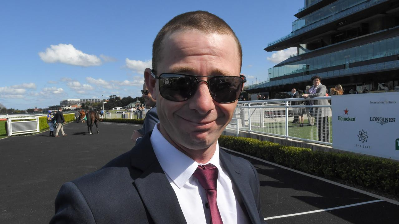 Trainer Kody Nestor is seen in the mounting yard after Toulon Brook race 1