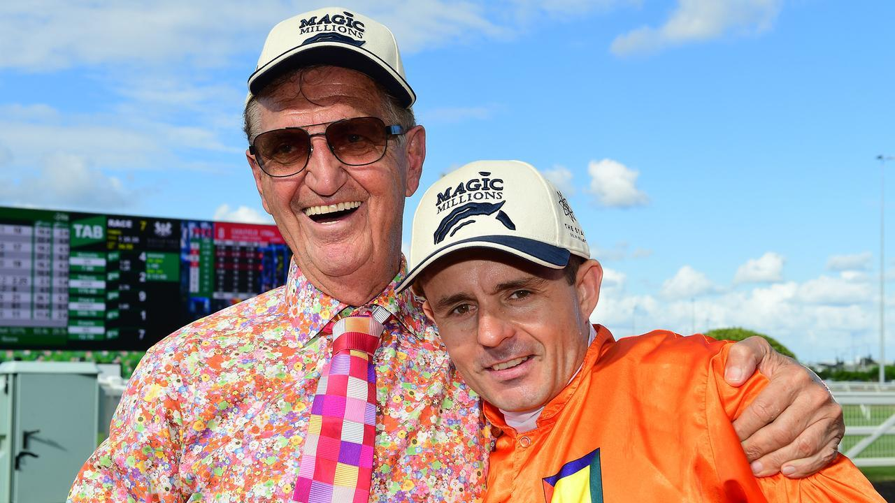 Owner Tom Hedley and jockey Brad Stewart after The Harrovian's 11th consecutive win. Picture: Grant Peters