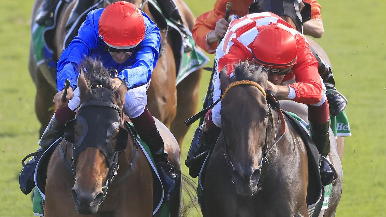 Hugh Bowman on Savatiano (left) and Regan Bayliss on Mizzy fight out the Canterbury Stakes. Picture: Mark Evans/Getty Images