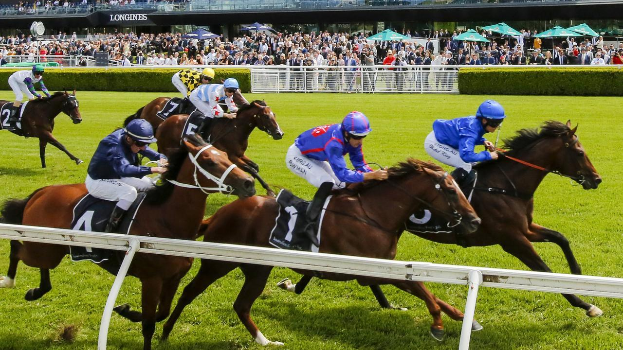 Highly-fancied Profiteer (second from right) and Stay Inside (light blue cap) were beaten in the Todman Stakes won by Anamoe. Picture: Getty Images