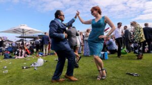 Crowds party hard on Melbourne Cup Day. Picture: Getty