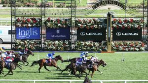 The Newmarket Handicap will be run down the Flemington straight course on Saturday. Photo: Pat Scala/Getty Images.