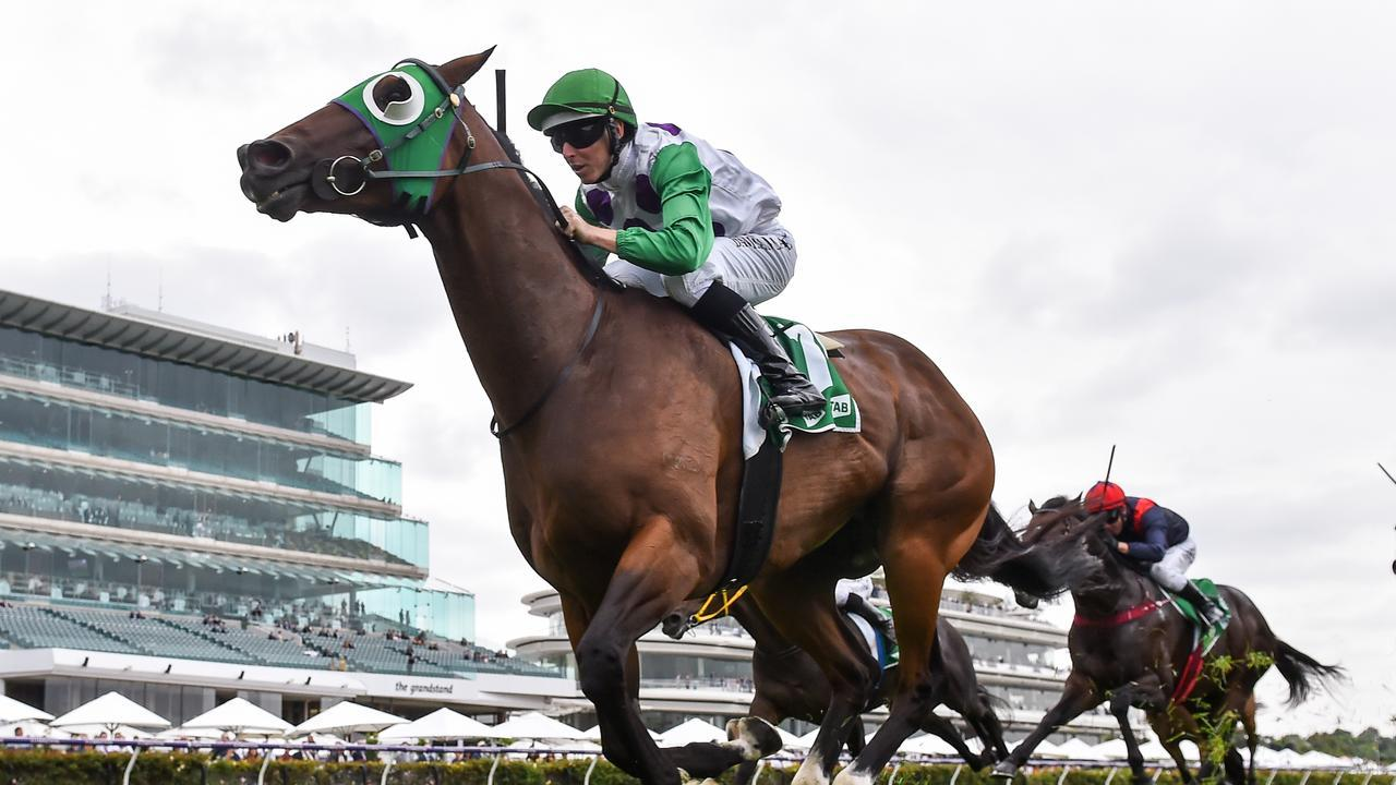 Morvada ridden by Damian Lane wins the The TAB Shaftesbury Avenue Handicap at Flemington. Picture: Racing Photos