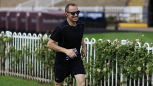 Chris Waller goes for his morning jog last Saturday morning at Rosehill. Picture: Getty Images