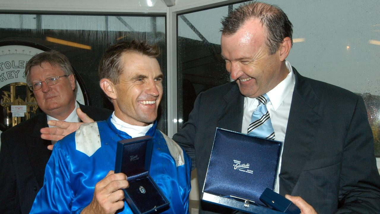 Dwayne Dunn with David Hayes at the presentation of 2006 Blue Diamond Stakes won by Nadeem.