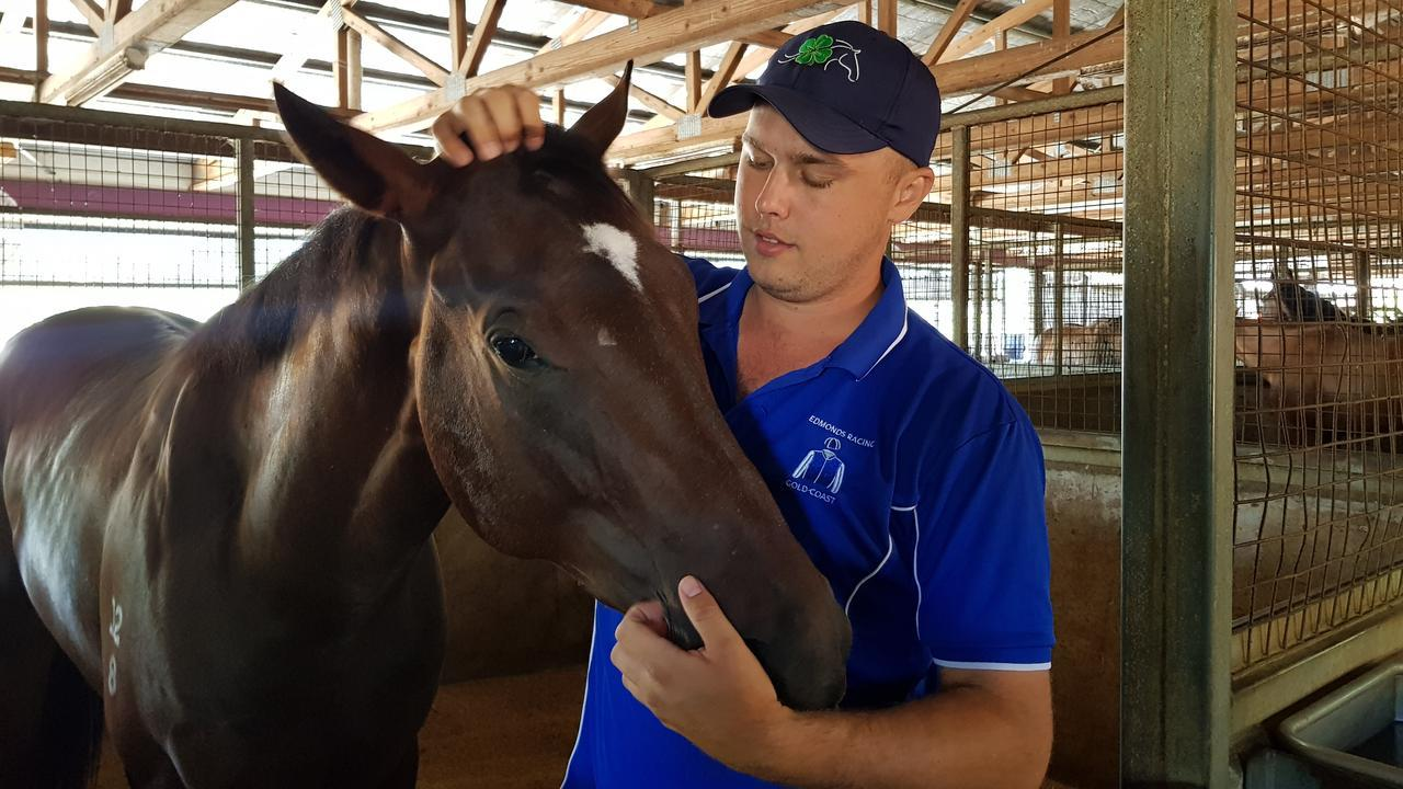 Trent Edmonds with Gold Coast Magic Millions 2yo Classic runner-up Alpine Edge. Picture: Supplied.