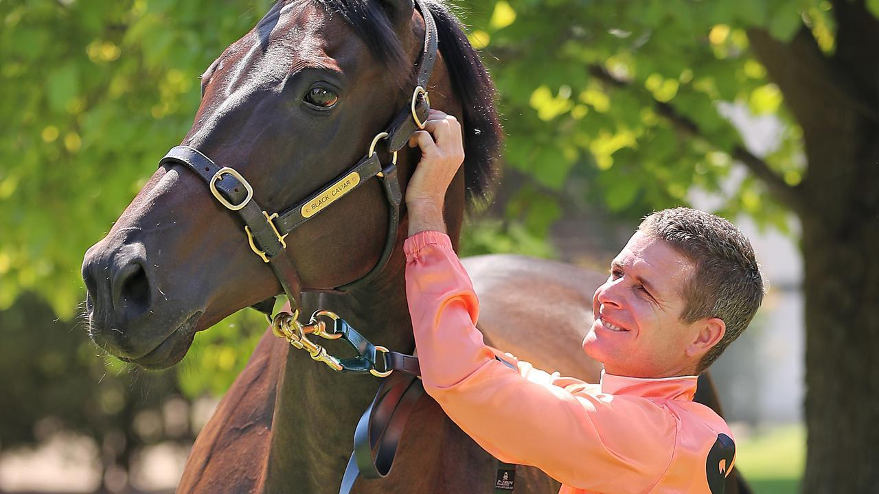 """Luke Nolen with the champion mare Black Caviar. He says life in racing is """"brutal"""". Picture: Alex Coppel"""