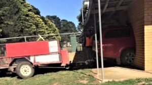 A motor vehicle crashed into the Ballarat Kennel block on Tuesday.