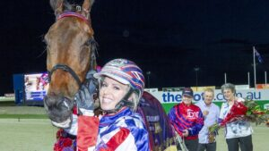 Kate Gath with Tornado Valley after winning the 2019 Inter Dominion Trotters Final. Picture: Stuart McCormick/Raceday Photos