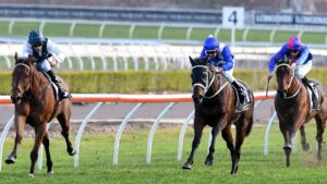 Red Excitement and Winx (second left) fight out a thrilling edition of the Chelmsford Stakes in 2017. Picture: AAP