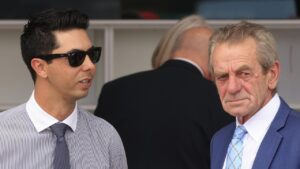 Co-trainers Sterling Alexiou (left) and Gerald Ryan have added blinkers to Zoumist for her Gosford assignment. Photo: Mark Evans/Getty Images