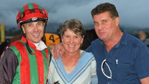 Jack Pakis (right) with jockey Justin Stanley and trainer Diane Murphy after Peacock's win in the Rockhampton Newmarket n 2018. Picture: Taron Clarke