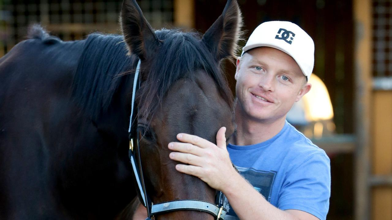Cameron Crockett with his first Group 1 runner with Barbass in the JJ Atkins. Picture: Darren England