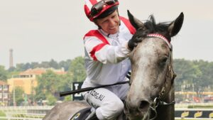 Kerrin McEvoy returns to scale on Classique Legend after winning The Everest.