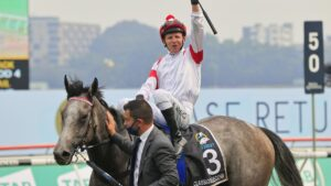 Kerrin McEvoy on Classique Legend returns to scale after winning The Everest at Randwick. Photo: Mark Evans/Getty Images