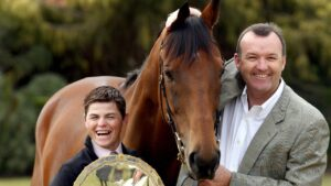 2006 Cox Plate winner Fields of Omagh with jockey Craig Williams (L) and trainer David Hayes. Picture: Kelly Barnes