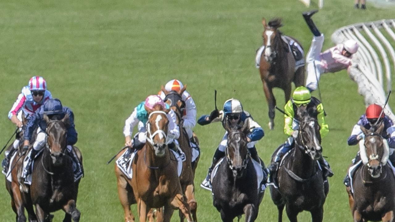 Hugh Bowman jumps off Anthony Van Dyck during the running of the 2020 Melbourne Cup. Picture: Jay Town